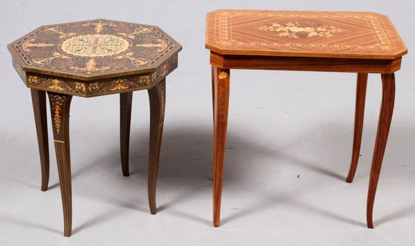 ITALIAN INLAID MUSIC BOX TABLES TWO & 22