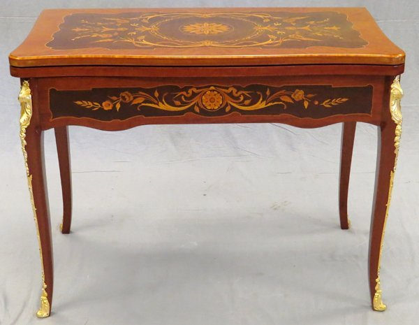 LOUIS XV STYLE GAMES TABLE MAHOGANY & FRUITWOOD