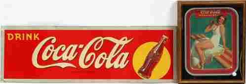 COCA-COLA METAL SIGN AND TRAY C1930 2 PCS.