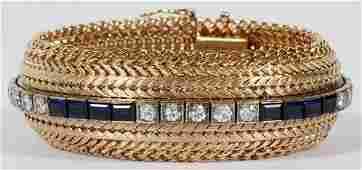 FRIEDMAN CHAIN CO GOLD SAPPHIRE  DIAMOND BRACELET