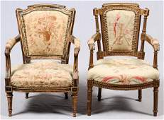 LOUIS XVI STYLE GILT WOOD&TAPESTRY CHILDRENS CHAIRS