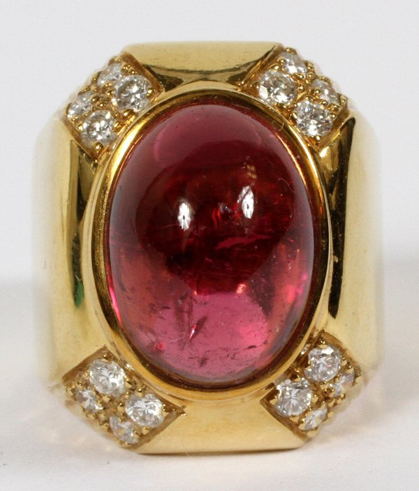18KT YELLOW GOLD PINK TOURMALINE & DIAMOND RING