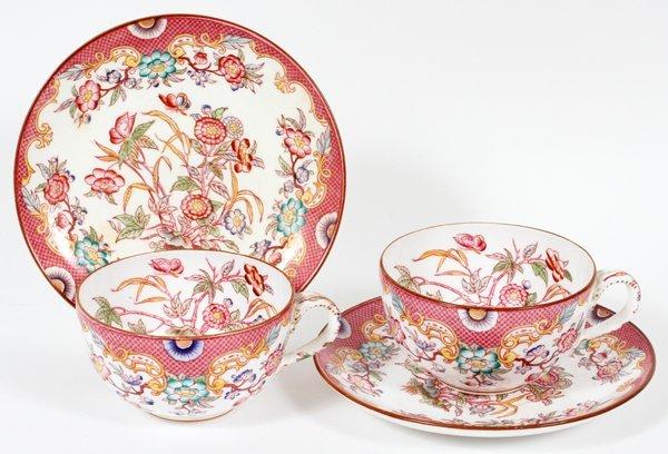 GERMAN PORCELAIN CUPS & SAUCERS C. 1910 TWO SETS