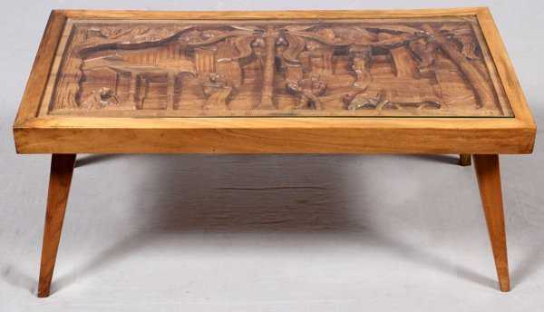 Philippine Carved Wood Cocktail Table