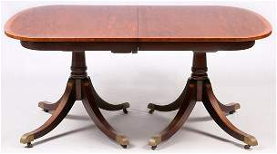 FEDERAL STYLE MAHOGANY DINING TABLE AND 5 CHAIRS