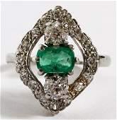WHITE GOLD, EMERALD & DIAMOND LADY'S RING