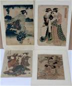 JAPANESE UKIYOE COLOR WOODBLOCK PRINTS 19TH C