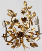 ITALIAN PAINTED GOLD METAL TWOLIGHT SCONCE