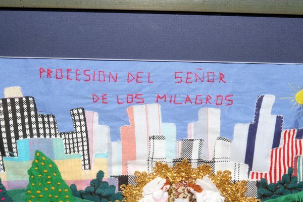 MEXICAN FOLK ART SCENE NEEDLEWORK ON FABRIC - 2