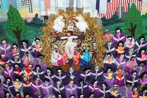 MEXICAN FOLK ART SCENE NEEDLEWORK ON FABRIC - 3