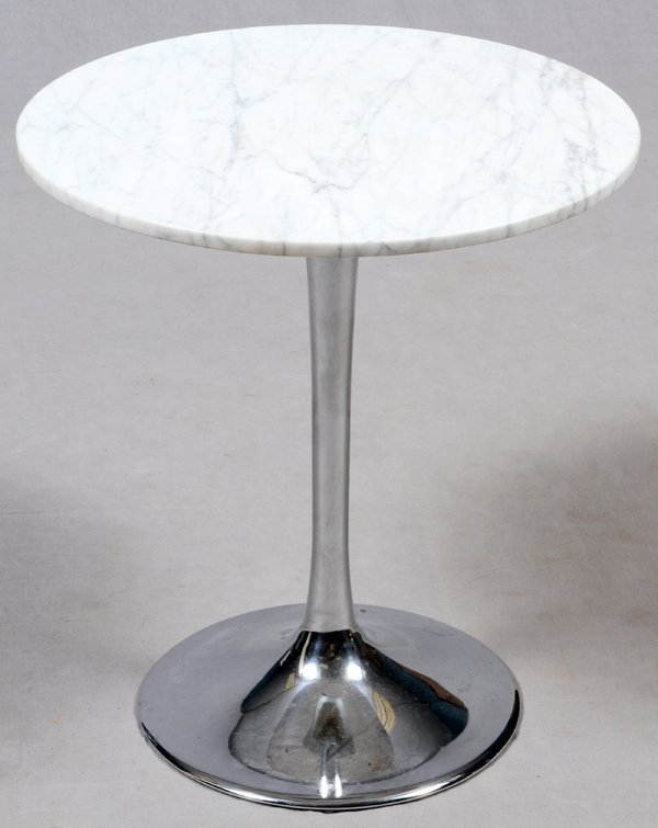 HUGH ACTON CHROME-PLATED STEEL & MARBLE TABLE