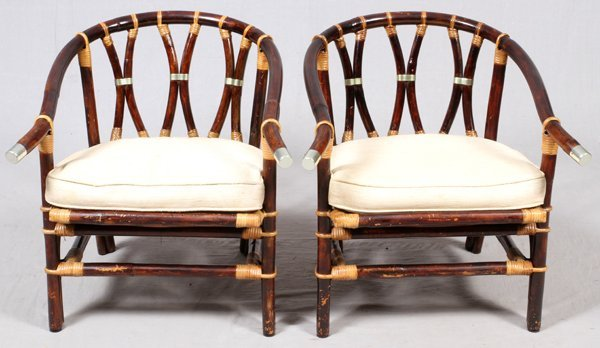 FICKS REED CO. RATTAN BARREL BACK CHAIRS PAIR