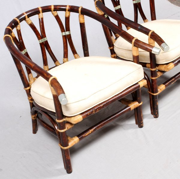 FICKS REED CO. RATTAN BARREL BACK CHAIRS PAIR - 2
