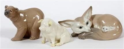 LLADRO  BELLEEK PORCELAIN ANIMAL FIGURES THREE