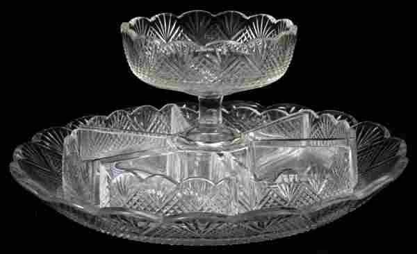 WATERFORD CRYSTAL CONDIMENT SET EARLY 19THC. 8 PCS.