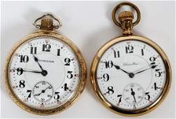 HAMILTON WATCH CO. GOLD FILLED POCKET WATCHES, 2