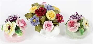 ENGLISH STAFFORDSHIRE FLOWER GROUPINGS THREE PIECES