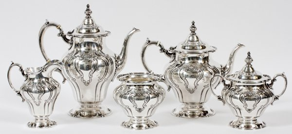 GORHAM 'CHANTILLY-DUCHESS' STERLING TEA &COFFEE SET