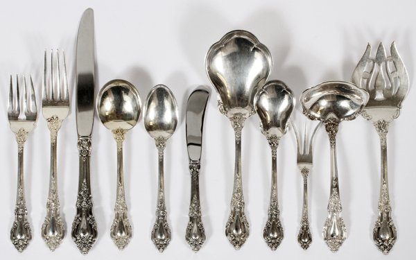 LUNT 'ELOQUENCE' STERLING FLATWARE SET 89 PIECES