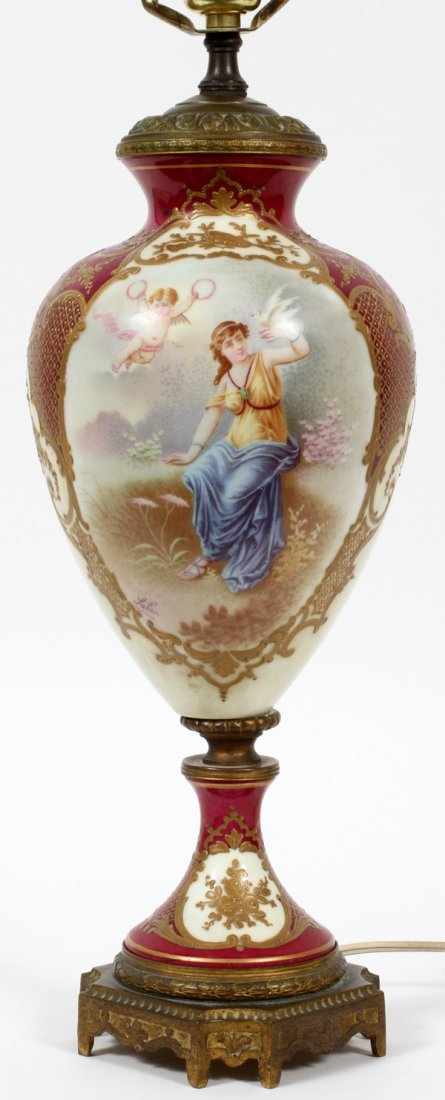 SEVRES PORCELAIN URN MOUNTED AS A LAMP C. 1900