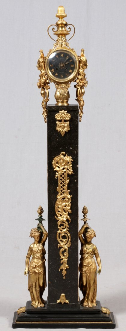 FRENCH D'ORE BRONZE & MARBLE CLOCK 19TH C.