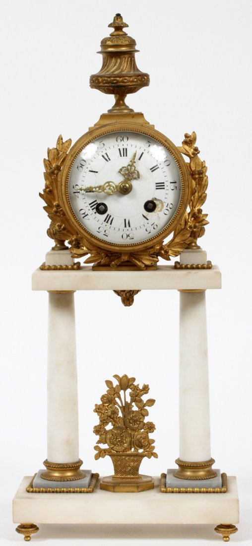 FRENCH BRONZE & MARBLE MANTEL CLOCK C. 1850