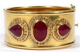 18KT YELLOW GOLD RUBY  DIAMOND BRACELET