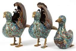 CHINESE CLOISONNÉ BIRDS THREE