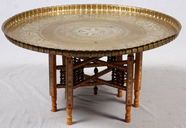 Middle eastern arabesque brass tray table for Dining room in arabic