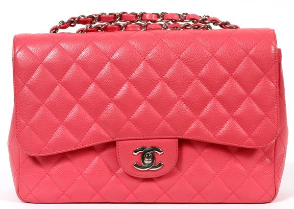 CHANEL PINK QUILTED CAVIAR LEATHER FLAP BAG