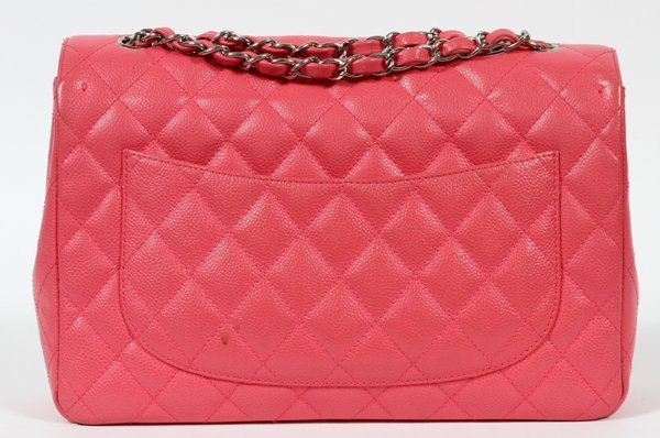 CHANEL PINK QUILTED CAVIAR LEATHER FLAP BAG - 2