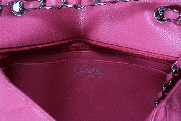 CHANEL PINK QUILTED CAVIAR LEATHER FLAP BAG - 3