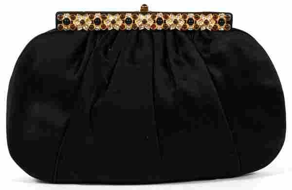 JUDITH LEIBER BLACK SATIN BAG W/ JEWELED CLASP