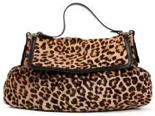 FENDI 'BORSA CHEF' LEOPARD PRINT ON PONY HAIR BAG