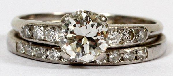 PLATINUM & DIAMOND ENGAGEMENT RING & WEDDING BAND SET