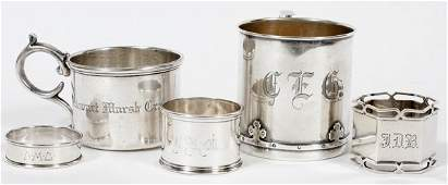 ANTIQUE STERLING 2 BABY CUPS 3 NAPKIN RINGS