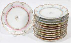 FRENCH LIMOGES PORCELAIN PLATES EARLY 20TH C