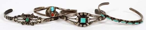 AMERICAN INDIAN STERLING & TURQUOISE CUFF BRACELETS