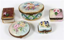 LIMOGES HAND PAINTED PORCELAIN BOXES FIVE