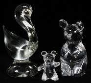 DAUM CRYSTAL TEDDY BEAR FIGURES  A SWAN