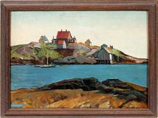 GEORGE ADOMEIT OIL ON BOARD NEW ENGLAND HARBOR