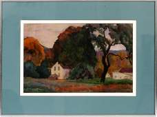 GEORGE ADOMEIT WATERCOLOR FARMHOUSE AT TWILIGHT