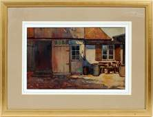 GEORGE ADOMEIT WATERCOLOR OLD HOMESTEAD IN GERMANY