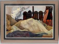 GEORGE ADOMEIT WATERCOLOR CLEVELAND FLATS