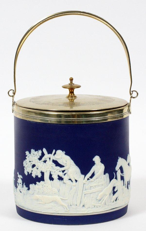 BROWNHILLS POTTERY ENGLISH JASPERWARE BISCUIT JAR