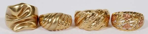 10 KT. YELLOW GOLD RINGS, 4
