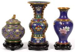 CHINESE CLOISONNÉ VASES THREE