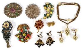 VINTAGE COSTUME JEWELRY TEN PIECES