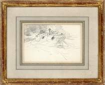WINSLOW HOMER PENCIL DRAWING ON PAPER C 1885