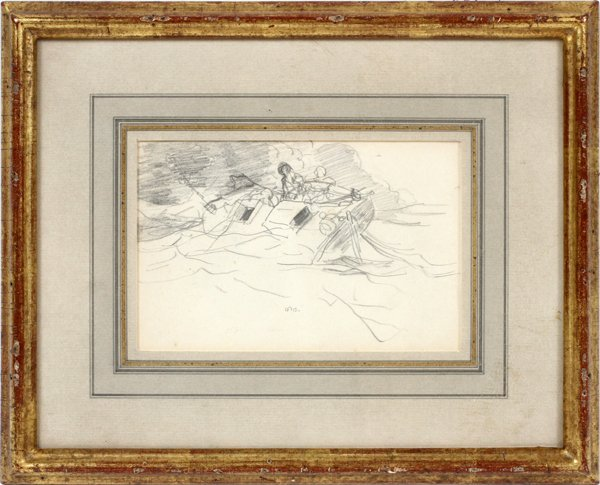 WINSLOW HOMER PENCIL DRAWING ON PAPER C. 1885